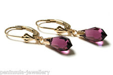9ct Gold Purple Swarovski Crystal Elements LeverBack earrings Made in UK