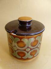 Vintage 70's Retro HORNSEA POTTERY Lidded Sugar Bowl Jam Pot BRONTE Pattern