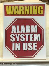 """2 x """" WARNING ALARM SYSTEM IN USE """" signs w/ water proof laminate Letter size"""
