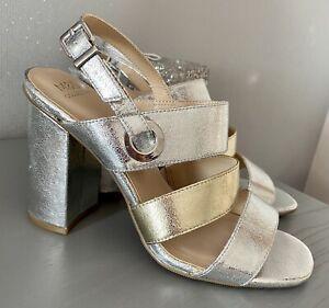 New Marks & Spencer Silver Metallic Slingback Summer Sandals Shoes Size 5