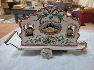 Vintage Holland Hand Painted Pipe Organ Street Cart Music Box Works