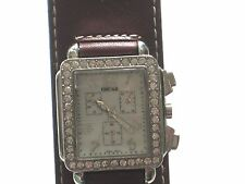RHINESTONE CRYSTAL RECTANGLE FACE WATCH GLOW IN DARK HANDS LEATHER LOOK BAND