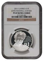 South Africa 2011 Silver R1 J M COETZEE Proof NGC PF 69 Ultra Cameo Coin