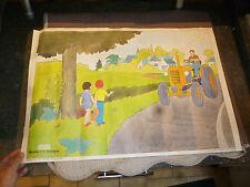 Ancienne Affiche Pédagogique d'Ecole Ancien Tracteur Renault Prevention Routière