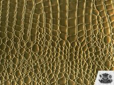 SHINNY CROCODILE EMBOSSED VINYL GOLD FABRIC FAUX LEATHER UPHOLSTERY SOLD BTY
