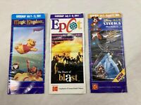 Lot of 3 Vintage 2001 Walt Disney World Guidemaps Magic Kingdom Epcot MGM Maps
