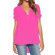 Plus Size Women Chiffon Summer V Neck Tops T-shirt Casual Loose Blouse Tee S-4XL