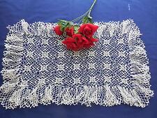 Vintage Crocheted Ruffled Centerpiece or Large Doily Rectangular Shape