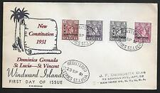 ST. LUCIA 1951 CONSTITUTION SET S.G. 167-70 ON FDC WITH CACHET REGISTERED TO N.Y