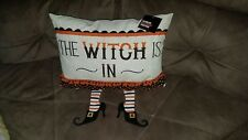 The Witch Is In/Out Witch Legs Throw Pillow Country Halloween Home Decor NEW NWT