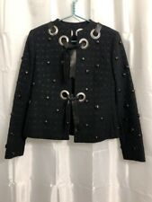 Chloe Jacket Eyelet Embossed Textured Black Size XS Leather Band Stud Studs