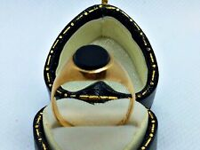 Vintage 9ct Yellow Gold Hallmarked Ring with Onyx Stone, Size O1/2