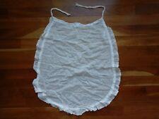 Antique 1800s French Apron Tissue Thin Sheer White Cotton Squares Eyelet Trim