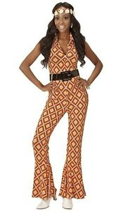 70's Disco Diva Vintage Groovy Jumpsuit Rhombus Ladies Fancy Dress Costume S-L