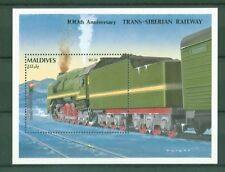 Malediven Maldives 1992 - Transsibirische Eisenbahn Transsib Lok - Block 214