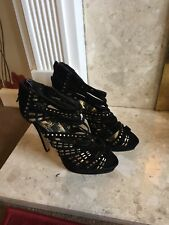 New Look Black Velvet And Gold Cage Heels Size 5