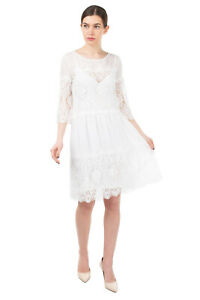 RRP €335 PINK MEMORIES A-Line Dress Size 42 M White Scalloped Lace Made in Italy