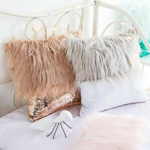 Plush Cushion Cover Sequin Fluffy Sofa Pillow Case Car Seat Home Decoration