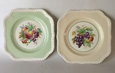 "2 Johnson Bros Square FRUIT Plates 7 5/8"" Peach & Grapes Vintage Old English"