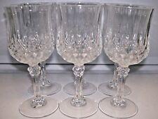 6 DURAND LONGCHAMP CRYSTAL STEM WINE GLASSES  6 1/2 INCH