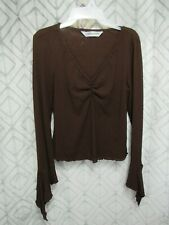 Jonathan Martin Top Size M Brown Pull Over V Neck Long Bell Sleeve Casual Work
