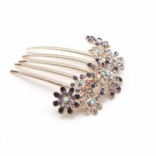 Silver Rhinestone Crystal Petal Hair Comb Flower Fashion Hairpin Clip Wedding