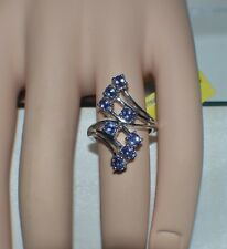 CHARMING 1.48 ct. NATURAL GENUINE  TANZANITE BYPASS RING  SIZE 5