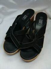 Faded Glory Women's Black Faux Leather Wedge Heel Sandals Size 7.5