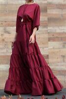 Maroon Maxi Dress Burgundy Dark Red Modest Dress Flowy Skirt  Waist Tie  - SML