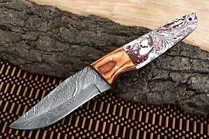 MH KNIVES CUSTOM HANDMADE DAMASCUS STEEL FULL TANG HUNTING/SKINNER KNIFE D-58N