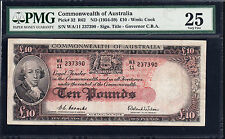 Commonwealth Bank Australia  Banknote 1954 Coombs Wilson £10 Pound  PMG graded
