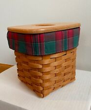 Longaberger Holiday Custom TALL TISSUE Reversible Basket Liner~ EVERGREEN PLAID