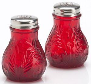 Salt & Pepper Shaker Set - Inverted Thistle - Mosser USA - Red Glass