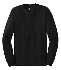 Hanes EUA Manga Larga Llano RESISTENTE Camiseta de algodón con puños