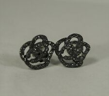00A CHANEL Autumn 2000 Collection Rhinestone Japanned Camellia Clip-on Earrings