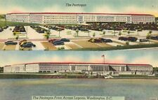 Washington,D.C.The Pentagon,2 Views,seen from Across Lagoon,Linen,c.1950s