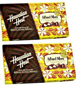 """(2x) 5oz BOX HAWAIIAN HOST """"ISLAND MACS"""" MILK CHOCOLATE COVERED MACADAMIA NUTS"""