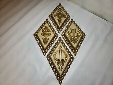 Homco 1971 Wall Hanging Plaques 7224, 7225, 7226, 7227 Diamond Gold & White!