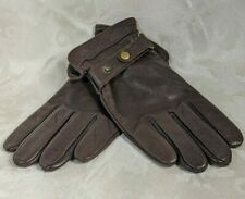Eddie Bauer Brown Leather Felt Lined Gloves Xtra Large Snap Fasteners