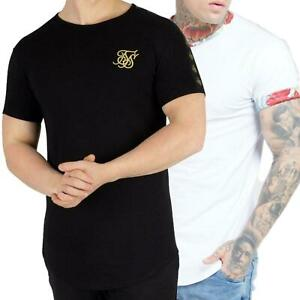 Sik Silk Mens T Shirt Muscle Fit Crew Neck Cotton Ringer Gym Casual Designer Tee