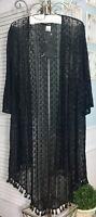NEW ~ Plus Size 3X Black Lace Fringe Boho Open Kimono Jacket Topper