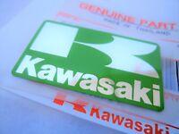 "ORIGINAL KAWASAKI ""K"" BADGE STICKER DECAL EMBLEM GREEN + SILVER 42mm x 24mm"