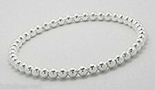 "Ball Bangle Bracelet Classic Beauty 7"" 18g Solid Sterling Silver 5mm Beaded"