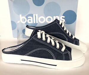Vtg Balloons Blue Canvas Slide Womens Size 9.5 Lace Up Denim Mule Sneaker NIB