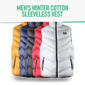 Men's Winter Puffer Vest Outwear Sleeveless Cotton Down
