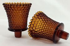 Hobnail Amber Glass Votive Peg Cups Candle Sconce Holders Vtg Set of 2