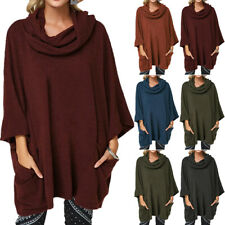 Plus Size Women Plain Long Sleeve Cowl Collar Loose Pullover Lady Sweater Jumper
