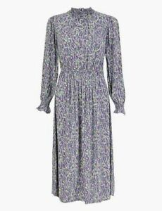 Stunning M&S High Neck Waisted Lilac Print Midi Evening Occasion Day Dress UK 16