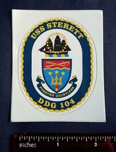 USS Sterett DDG 104 Destroyer Navy Ship Crest Mini Sticker Decal FOREVER DAUNTLE