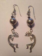 Vintage .925 Silver Southwestern Kokopelli Dangle Hook Earrings